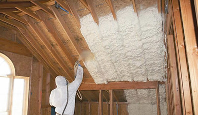 Spray foam being installed